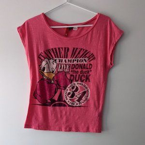 H&M x Disney Donald Duck Boat Neck Tee Pink Size 6
